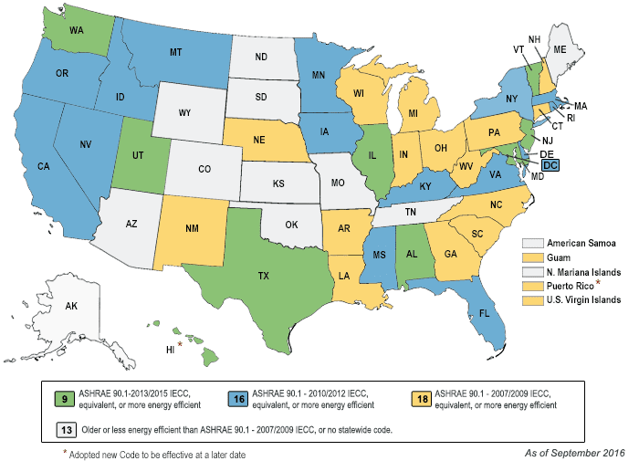 Map of Commercial Energy Codes by state